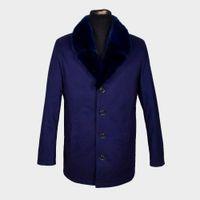 Wholesale Men Mink Fur Collar - Fall-Dark blue Men coat Large size Nick clothing fur Mink collar leather suit Rex is not removable liner Factory direct supplier