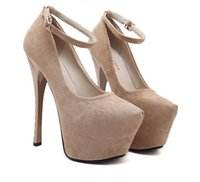 16cm Sexy Women Plataforma Ultra High Heels Ankle Strap Pumps Sintético Suede Sapatos de dança Nightclub Party Size 35 to 40