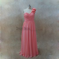 Wholesale purple green gold dressses for sale - 2017 Coral Sheath Bridesmaids Dressses with One Shoulder Sleeveless Floor Length Handmade Flowers Ruching Chiffon Real Images
