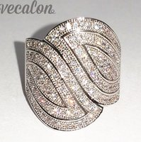 Wholesale pave diamond engagement ring - Vecalon Fashion Pave set 140pcs Simulated diamond Cz Engagement Wedding Band ring for Women 10KT White Gold Filled Finger ring