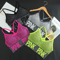 Wholesale padded running bra - hot sale Cross Strap Back Women Sports Bra Professional Quick Dry Padded Shockproof Elastic Running Yoga Tops Vest love pink
