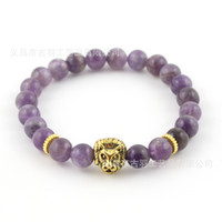 Wholesale Top Mens Gifts Wholesale - 8mm Top Quality Natural Amethyst Stone Beads Real-Gold Plated Lion Head Energy Bracelets Mens Jewelry Mens Gift