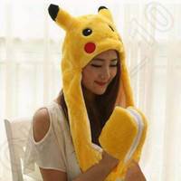 Wholesale Cartoon Boy Hood - Pikachu Cartoon Plush Animal Faux Fur Full Hood Kids Hat Women Children Costume Beanie With Long Scarf Gloves Earmuffs CCA4990 100pcs