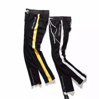 Wholesale Trouser Side Zipper - NEW TOP kanye west white yellow splice stripes men pants hip hop pocket foot trousers Side zipper Casual sports pants M-XXL