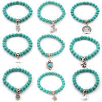 Wholesale turquoise elephant bead - Natural Stone Turquoise Prayer Beads Bracelets Owl Elephant Tree of Life Cross Palm Charm Buddha Bracelet Bangle Cuffs Drop Shipping