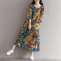 Wholesale Three Quarter Sleeve Ankle Length - Autumn Dress Cotton Linen Plus Size Women Dress Floral Print Loose Waist Three Quarter Sleeve Long Dress O Neck Long Robe
