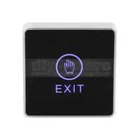 Wholesale Touch Door Release - Infrared Contactless Bule Backlight Touch Exit Button \ Door Release Switch for Access Control 10PCS Free Shipping