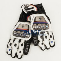 Wholesale Motorcycle Colours - High quality Titanium alloy motorcycle Cow leather gloves Off Road racing gloves Full Fingef Protective 5 Colour M L XL