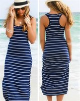 Wholesale Cheap Maxi Cotton Dresses - Hot Sale Casual Striped Long Beach Dress Summer Spaghetti Strap Neck Sleeve Sheath Cheap Women Dress In Stock Cheap Women Dress