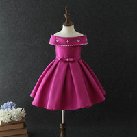 Wholesale Wholesale Wedding Sashes For Dresses - New Boutique Girls Dresses for Party and Wedding Formal Evening Off The Shoulder Rhinestones Tutu Birthday Dress 3-10Y E1519
