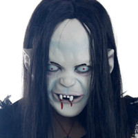 Wholesale Terror Face Women - 2016 Hot Sale Halloween Horrible Witch Mask Black Hair Zombie Mask Wholesale Ghost Mask Terror Mask Gifts Free Shipping