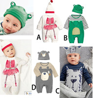 Wholesale Boys Sportwear - 2016 Boys Animal Jumpsuits Outfits Infant Boys Lion Frog Onesies Sportwear Fall Kids Striped Cotton Bodysuits Rompers Baby Boy Clothes