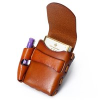 Wholesale Cigarette Pillow - Ruil Casual Retro Men Belt Small wallet Amekaji Handmade Cow Leather Cigarette Case Bags Cowhide Multi-functional new handbag