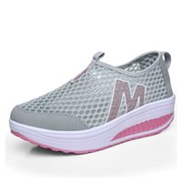 Wholesale Slimming Sports Shoes - New 2016 women's breathable mesh slip on slimming sneakers casual shoes design ladies hollow out summer wedge platform loafers sports shoes