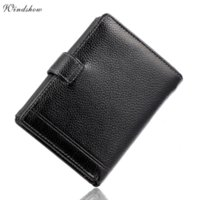 Wholesale Real Leather Mens Bag - Mens Black Real Genuine Cowhide Leather Money Pocket Wallets and Purses Coin Passport Credit Card Holder Bag Famous Design Brand