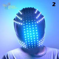 Wholesale Robot Helmet - Wholesale-LED Helmets 10 Styles Of 2016 Fashion Luminous Flashing Marquee Glowing Helmet Waterfall Flow LED Robot Helmet Suits Accessories