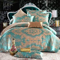 Wholesale Wholesale King Bedding - 4pcs jacquard mulberry silk bedding set satin bed linen bedclothes queen king size including duvet cover bed sheet pillowcases