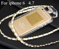 Gros-Luxury Brand Perfume Bottle Soft Cover Case TPU avec chaîne en cuir d'or pour l'iPhone 6S 4.7 / Case pour iPhone 6 plus 5.5 Retail Box