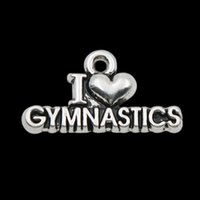 Quente! Atacado Antique Silver Plated I Love Gymnastics Vintage Alloy Letter Charms 11 * 21mm AAC157