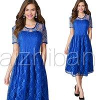 Wholesale Dress Blue Grace - New Design Grace Blue Lace Special Occasion Dresses Short Sleeve Knee Length Evening Dress Grace Scalloped Neck Party Gown Plus Size