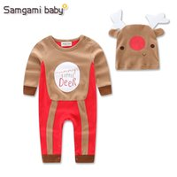 Wholesale Halloween Costume Infants - Newborn Baby Boy Romper Christmas Deer Long Sleeve Infant Cartoon Snowman Halloween Christmas Costume Gift for baby rompers free shipping