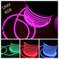 led neon flex 12v toptan satış-50 M 14x26mm DC12V RGB LED Neon Flex SMD5050 LED Esnek Neon Tüp Işık Festivali Yapı Dekorasyon Aydınlatma Neon Dükkanı Burcu