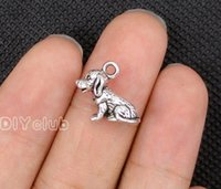 40pcs-Antique Tibetan Silver Bear Print Paw Claw 3D Sitting Chien Dalmatian Charms Pendentif 20x14mm Connector Lovely Bricolage Bijouterie
