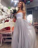Wholesale Stone Evening Dresses - 2018 New Silvery Gray Strapless Tulle A Line Prom Dresses Beaded Stones Floor Length Formal Party Guest Evening Dresses