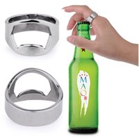 Wholesale stainless cook rings resale online - 100pcs Stainless Steel Finger Ring shape Bottle Opener For Beer Bar Tool Kitchen Cooking