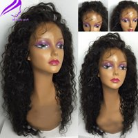 Wholesale Natural Fiber Baby - Top Quality side part Malaysian Hair Fiber Curly Wigs Synthetic Lace Front Wigs With Baby Hair Fluffy Heat Resistant Synthetic Hair Wigs