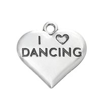 Wholesale Wholesale I Love Dance Charms - Myshape Charms Jewelry silver plated heart charm engraved letter I LOVE DANCING charm the pendant for bracelets necklaces making