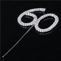 Wholesale Numeral Cake Toppers - New Lovely Diamante Dual Numeral 60 Monogram Cake Toppers for Wedding Birthday