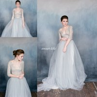 Wholesale red fluffy skirts for sale - Group buy Summer Wedding Dresses Sheer Lace V Neck Fluffy Tulle Half Sleeves Plus Size Bohemia Beach Wedding Bridal Gowns