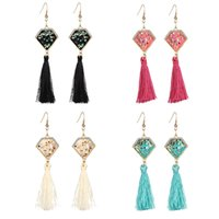 Wholesale Red Earrings For Prom - High Quality Ethnic Earrings Beautiful Fringe Colorful Earrings Handcrafted Jewelry Prom Drop Earrings For Girlfriend Gift