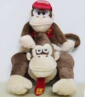 animales de peluche burro al por mayor-2Pcs / Set Super Mario Plush Juguetes Cartoon Stuffed Animales Doll Monkeys y Donkey Kong para los niños Los mejores regalos de cumpleaños de Navidad