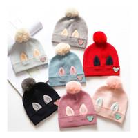 Wholesale Bucket Ears - Knitted Hats Baby Bunny Ear Cotton Bucket Hat Kid Cute Wool Winter Crochet Halloween Warm Cap