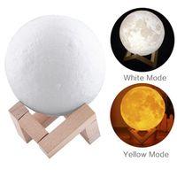 ingrosso aa tazze-Lampada lunare da 3,9 pollici 3D ricaricabile Lunar Night Light Touch Control Illuminazione bicolore calda e fredda con scatola regalo in legno