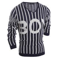 patrones que hacen punto para hombre suéteres al por mayor-Al por mayor-Classic para hombre patrón de suéter a rayas carta con cuello en v casual mens jumpers suéter suéter masculino diseñador de punto suéteres de punto 9019