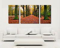 ingrosso paesaggistica contemporanea-Contemporary Landscape Fallen Leaves In Forest Stampa giclée su tela Wall Art Home Decor Set30306