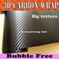 Wholesale Cheap Doors Free Shipping - Cheap 3D Big Texture Carbon Fibre vinyl Film Air Bubble Free Car styling Free shipping Carbon laptop covering skin 1.52x30m Roll
