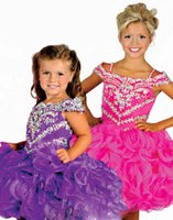 Wholesale Toddler Ball Gown Pattern - 2016 Hot Sale Baby Girl birthday party Mini Pageant Dress With Straps Beadings Collar Pattern Toddler Short Skirt Folds Cute Infant Cupcakes
