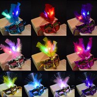 Wholesale led feather masks - LED Halloween Party Masks Flash Glowing Feather Mask Mardi Gras Masquerade Cosplay Venetian Masks Halloween Costumes Party Gift HH7-163