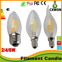Wholesale e12 dimmable candle bulbs for sale - Group buy Edison Filament Dimmable Led Candle Lamp W W W E14 E12 Led Bulbs Light High Bright E27 candle light