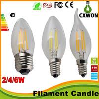 bombillas led de filamento e12 al por mayor-Lámpara de vela Led regulable de filamento Edison 2W 4W 6W E14 E12 Bombillas LED Luz de vela alta brillante E27