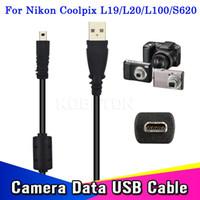 cabo ec e6 venda por atacado-Venda por atacado-Hot 59 Polegadas 1.5 M Cabo USB Câmera Para Transferência de Carga De Dados Do PC Para Para Coolpix L19 L20 S620 S620 UC-E6 Para FinePix
