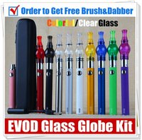 Wholesale Ugo Kit - EVOD herbal wee vaporizer Glass Globe dry herb vapors wax kit electronic cigarette battery starter kits UGO Passthrough dab pen kits vapes
