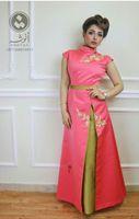 machen chinesisches kleid großhandel-Stickerei Abendkleider Arabisch Kaftan Kleider Chinese Party Dress Dubai Kaftan Arabisch lange formale Split Abendkleid High Neck Custom Made