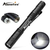 Wholesale led clip flashlight - AloneFire P50 CREE LED Mini Flashlight Belt Clip Pocket Torch Portable Flash Torch Lamps,Use AAA battery flashlight