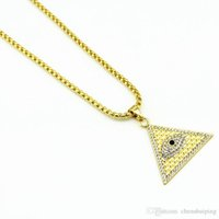 Wholesale Evil Eye Gold Plated - New Fashion Gold Plated Pyramid Charm Triangle Shape Lucky Evil Eyes Long necklace jewelry Hip Hop Pendants&Necklaces