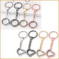 Wholesale Heart Locket Keychain - Round Heart Rhinestone Crystal DIY Pendant Floating Charming Locket charms Keychain Keyring Personality Metal Key Chain Ring Gifts